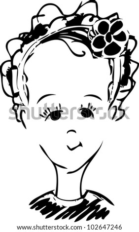 A baby girl with a ribbon cartoon