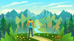 A backpacker standing on the top of a mountain enjoying river view. Vector illustration.