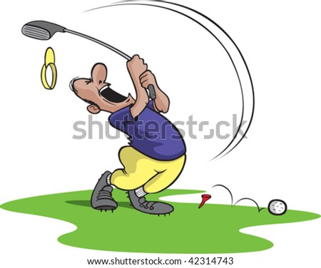 A bad cartoon Golfer swinging and missing. Golfer and grass are on separate layers.