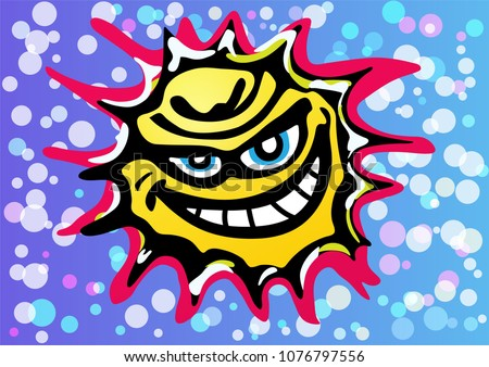 a bad yellow angry sun is