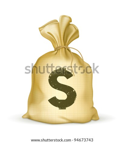 A bag of money vector icon. Business and finance. Dollar sign