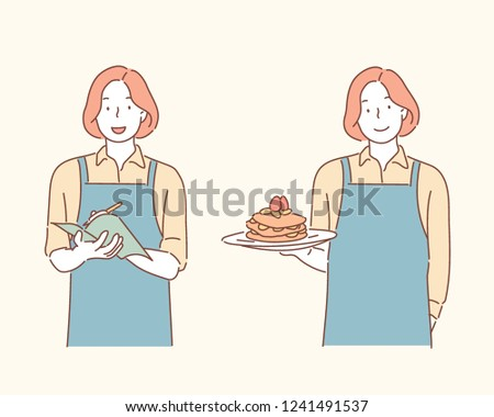 A bakery employee who is ordering and a bakery employee who serves a cake. hand drawn style vector design illustrations.