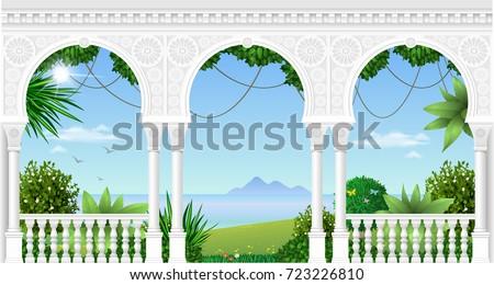 a balcony of a fabulous palace