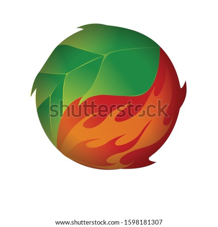 a ball of fire and leaf logo