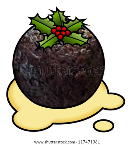 A ball/spherical dark christmas pudding sitting in custard with holly and holly berries.