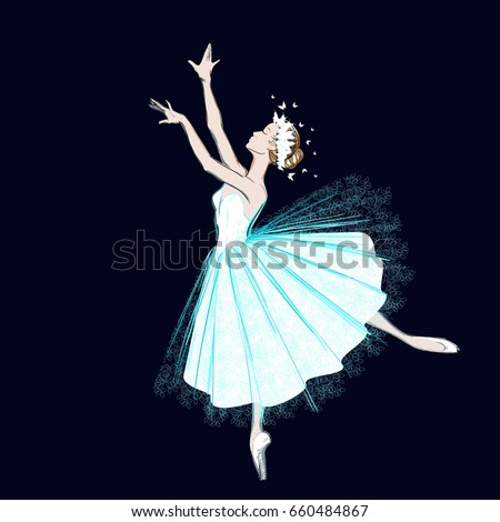 a ballerina in long dress and