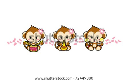 a band of cute monkeys playing musical instruments