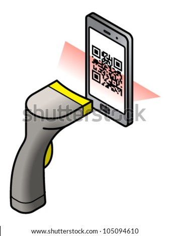 A barcode scanner scanning a QR code on a mobile/cellular phone screen. - stock vector