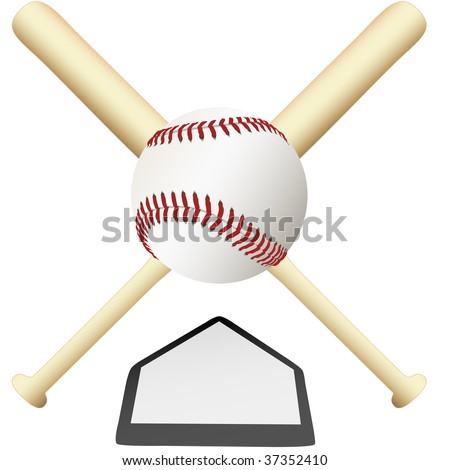 A Baseball Emblem crossed bats over home plate ready for college or major leagues spring training to the world series.