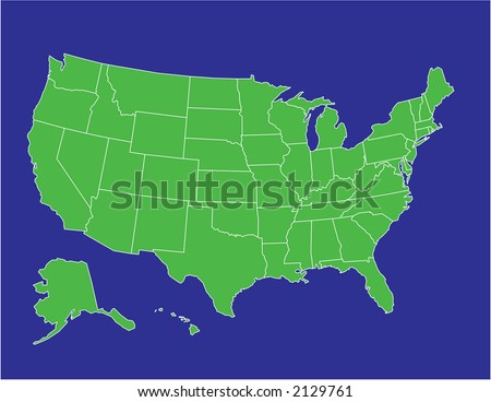 a basic map of the united states of america in green on a blue background