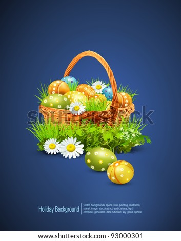 a basket full of Easter eggs on a blue background