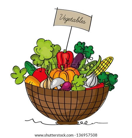 A basket of vegetables, isolated on the white background