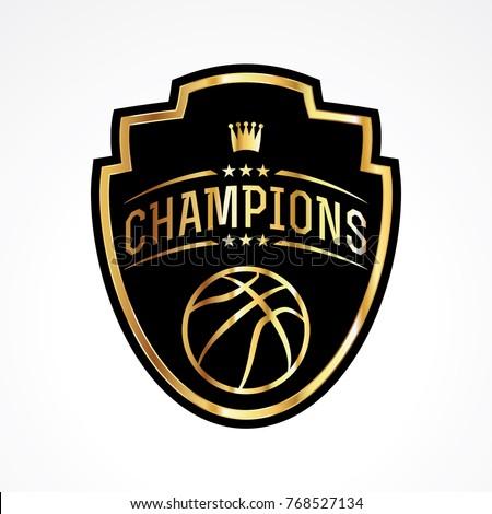 A basketball champions badge emblem illustration. Vector EPS 10 available.