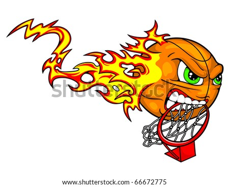 clipart basketball goal. stock vector : A basketball tears down the goal with his teeth while flames