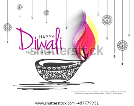 A beautiful card with line art decorated floral diya background of indian festival for diwali celebration. #487779931