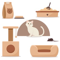 A beautiful cat with a bowl, a toilet, a forage, a couch, a small house. Vector flat illustration. Isolated objects.