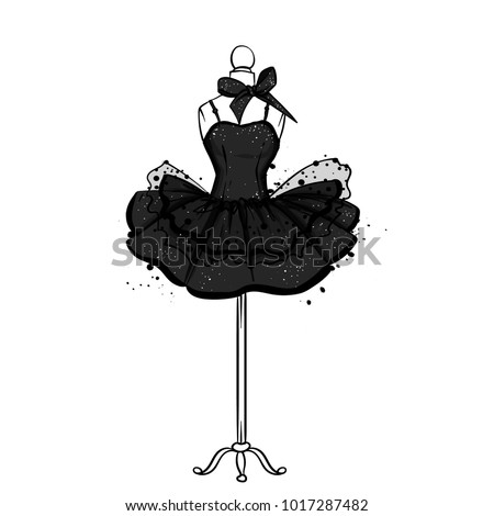A beautiful dress with a lush skirt. Clothes on the mannequin. Vintage outfit for the girl. Vector illustration. Fashion, style, clothing and accessories.