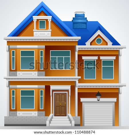 A beautiful house. Vector image. Detailed drawing.