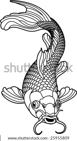 stock vector : A beautiful koi carp fish illustration in monochrome.