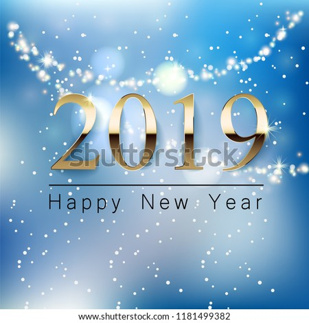 beautiful sparkles 2018 new year background greeting design ...
