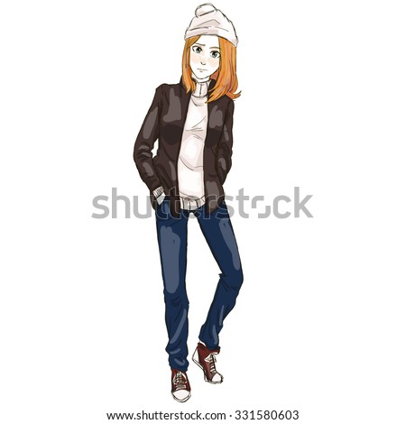 Stock Photo A Beautiful Red Haired Teenage Girl Wearing Milky White Hat And Sweater In Blue Jeans, Brown Jacket And Red Boots; Looking Miserable And Lonely; Hands In Her Pockets