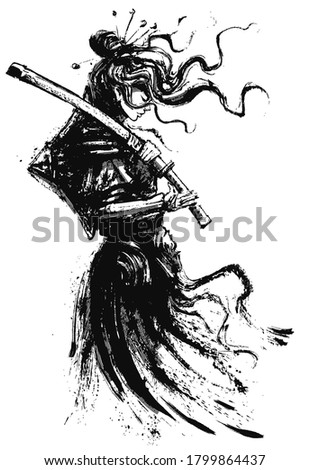 A beautiful samurai girl in Japanese armor with a katana on her shoulder, standing in profile, drawn in ink, her hair flying in the wind. 2D illustration.