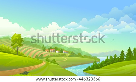 A beautiful small village along a river and a wine yard