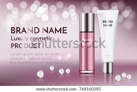 A beautiful templates for cosmetic ads, realistic 3d pink bottle with white cosmetic tube for moisturizing skincare cream on a shiny bokeh background with water pearl