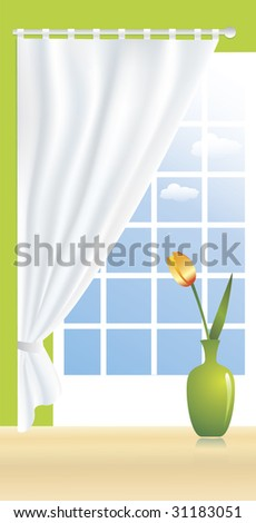 A beautiful tulip in a green vase is standing on a floor in front of a window. A view from a window decorated with curtains reveals brilliant blue sky with white clouds