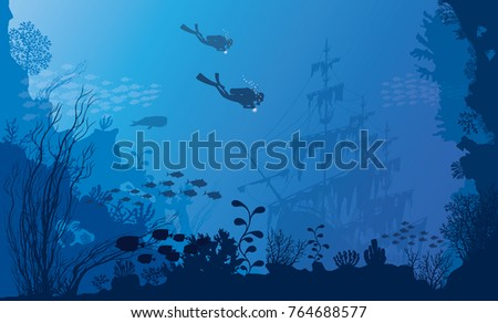 Stock Photo a beautiful underwater scene; a vector seascape with reef; a marine sea bottom silhouette with seaweed, algae and coral; hand drawn realistic ocean background -Summer - sea - Old Ship - Diver