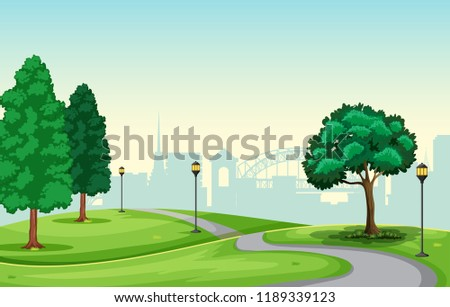 A beautiful urban park scene illustration