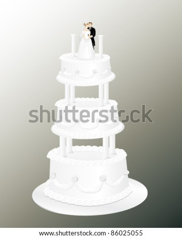 A beautiful wedding cake that has a loving bride and groom on the top layer. All elements are on separate layers for easy editing. Can be placed on any color background.