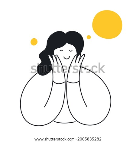 A beautiful woman dreaming about something pleasant, exciting, and admired. Elegant girl with dream bubbles and a smiley face. Thin line elegant vector illustration.