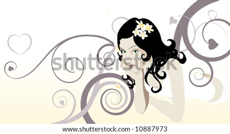 A beautiful woman laying down looking at the viewer with abstract background