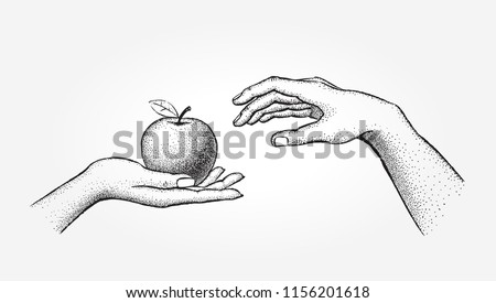A beautiful woman treats her man a delicious apple. Vector concept sketch, hand drawn illustration.