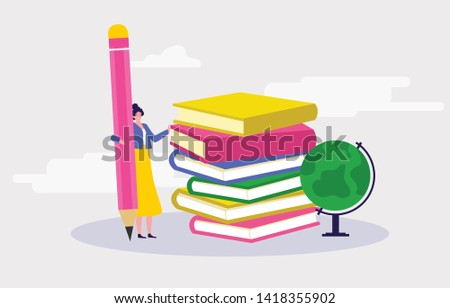 A beautiful young girl is holding a pencil and book and globe to writing, read, educate and teach her self of knowledge Illustration