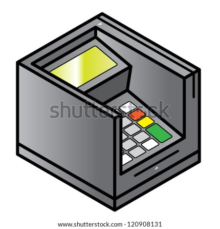 A bench top point of sale pin pad / terminal with card swipe and card insert slots. Inset keypad provides additional security.