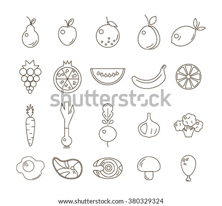 A big collection of black-and-white linear power icons, including watermelon, grapes, citrus, salmon and other fruits, vegetables and meat. A healthy diet vector icon.