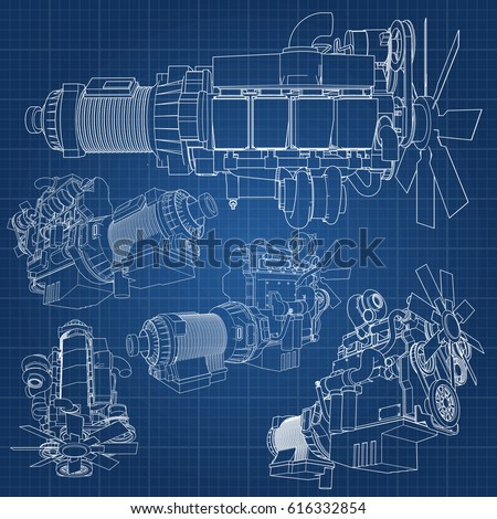A big diesel engine with the truck depicted in the contour lines on graph paper. The contours of the black line on the blue background