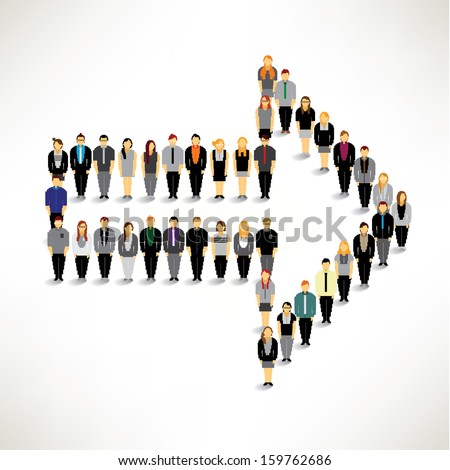 A big group of businessman gather around in arrow shape vector design