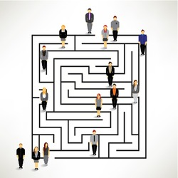 A big group of people entering the maze vector design