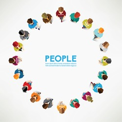 A Big Group of Top View People Vector Design