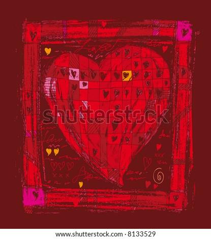 a big hand-drawn heart close into a frame