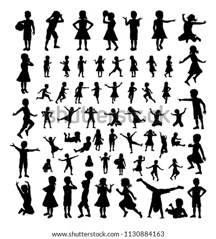 A big high quality detailed set of kids or children in silhouette playing and having fun Stock photo ©
