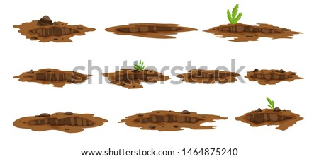 A Big Hole set the Ground illustration. Ground works digging of sand coal waste rock and gravel illustration. Stock photo ©