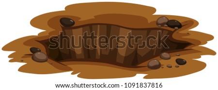 A Big Hole the Ground illustration Stock photo ©