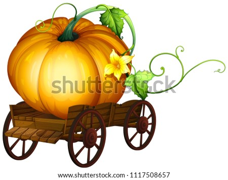 A Big Pumpkin on Wooden Cart illustration