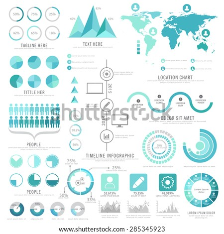 A big set of business infographic elements including statistical graphs and charts with world map annual professional reports presentation.