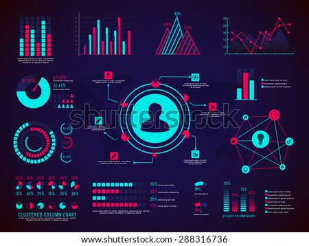 A big set of different statistical graphs and charts for your business or corporate sector.