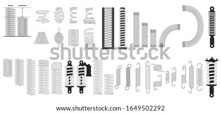 A big set of steel metal spring coil design elements. Coil spring cable icons set. Outline coil spring cable icons for web. seat spring on white background . Vape or machine steel coil, twisted spiral